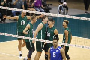 CINDY ELLEN RUSSELL / CRUSSELL@STARADVERTISER.COM Hawaii outside hitter Filip Humler celebrated a kill with teammates during the second set against the BYU Cougars at tonight's match.