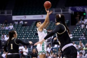 ANDREW LEE / SPECIAL TO THE STAR-ADVERTISER                                 Hawaii's Julissa Tago shoots the ball during the first quarter.