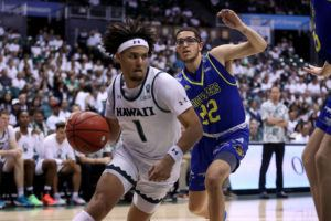 STAR-ADVERTISER / FEB. 29                                 Hawaii's Drew Buggs drove past UC Riverside's Dominick Pickett at the Stan Sheriff Center.