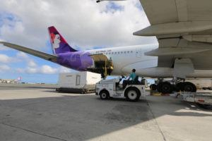 COURTESY HAWAIIAN AIRLINES                                 The aircraft, which carried four Hawaiian pilots, two mechanics and two airport operations employees, is expected to return to Hawaii just before 5 p.m. on Monday.