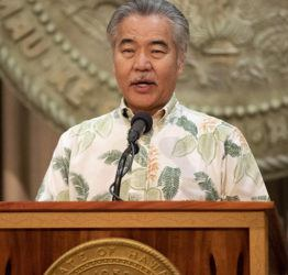 CINDY ELLEN RUSSELL / CRUSSELL@STARADVERTISER.COM                                 Gov. David Ige gives an update on the state's response to the COVID-19 crisis during a news conference at the State Capitol Tuesday.