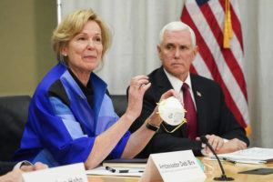 GLEN STUBBE/STAR TRIBUNE VIA ASSOCIATED PRESS                                 Dr. Deborah Birx, Ambassador and White House coronavirus response coordinator, holds a 3M N95 mask, March 5, as she and Vice President Mike Pence visited 3M headquarters in Maplewood, Minn., in a meeting with the company's leaders and Minnesota Gov. Tim Walz to coordinate the response to the COVID-19 coronavirus.