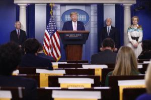 ASSOCIATED PRESS                                 President Donald Trump speaks during a coronavirus task force briefing at the White House.