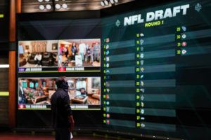 ESPN IMAGES VIA AP                                 In a photo provided by ESPN Images, the draft board is seen before the start of the NFL football draft on Thursday in Bristol, Conn.