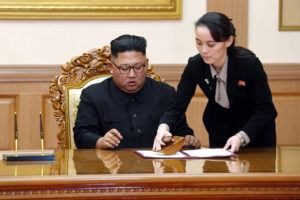 "ASSOCIATED PRESS                                 Kim Yo Jong, right, sister of North Korean leader Kim Jong Un, helps Kim sign joint statement following the summit with South Korean President Moon Jae-in at the Paekhwawon State Guesthouse in Pyongyang, North Korea, in 2018. Kim's prolonged public absence has led to rumors of ill health and worries about how it could influence the future of what one analyst calls Northeast Asia's ""Achilles' heel,"" a reference to the North's belligerence and unpredictable nature."