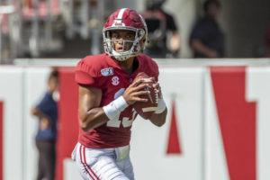 ASSOCIATED PRESS                                 Alabama quarterback Tua Tagovailoa dropped back to pass against New Mexico State during a game, in Sept. 2019, in Tuscaloosa, Ala. The former University of Alabama and Saint Louis School quarterback debuted his first commercial endorsements ahead of new week's beginning of the NFL Draft, where he is expected to be a high first-round selection.