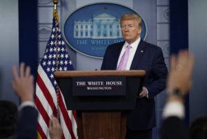 ASSOCIATED PRESS                                 President Donald Trump answered questions during a coronavirus task force briefing at the White House in Washington on Friday.
