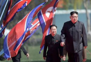 ASSOCIATED PRESS                                 North Korean leader Kim Jong Un, right, and Choe Ryong Hae, vice-chairman of the central committee of the Workers' Party, arrive for the official opening of the Ryomyong residential area, in Pyongyang, North Korea, on April 13, 2017,