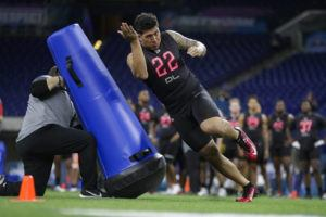 ASSOCIATED PRESS                                 Utah defensive lineman Bradlee Anae runs a drill at the NFL football scouting combine in Indianapolis on Feb. 29.