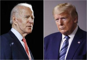 ASSOCIATED PRESS                                 Former Vice President Joe Biden speaks in Wilmington, Del., on March 12, and President Donald Trump speaks at the White House in Washington on April 5.