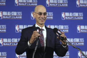 ASSOCIATED PRESS / 2019 NBA Commissioner Adam Silver speaks during a news conference at Vivint Smart Home Arena in Salt Lake City. Something is finally clear in the uncertain NBA. Players believe they're going to play games again this season. The obvious questions like how, where and when remain unanswered.