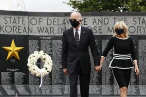 ASSOCIATED PRESS Democratic presidential candidate and former Vice President Joe Biden and Jill Biden depart after placing a wreath at the Delaware Memorial Bridge Veterans Memorial Park, today in New Castle, Del.