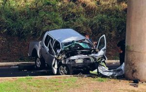 CINDY ELLEN RUSSELL / CRUSSELL@STARDVERTISER.COM                                 A male in his 60s was killed, March 1, when the vehicle he was driving struck a concrete rail transit pillar near Kahi Mohala.
