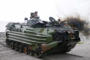 ASSOCIATED PRESS                                 U.S. Marines from the 3rd Marine Expeditionary Brigade rode on their Amphibious Assault Vehicle (AAV) during the joint US-Philippines amphibious landing exercise, in Oct. 2016, at Naval Education Training Command in San Antonio northwest of Manila, Philippines. A training accident off the coast of Southern California in an AAV similar to this one has taken the life of one Marine, injured two others and left eight missing.