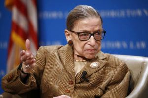ASSOCIATED PRESS                                 U.S. Supreme Court Associate Justice Ruth Bader Ginsburg speaks during a discussion on the 100th anniversary of the ratification of the 19th Amendment at Georgetown University Law Center in Washington in February.