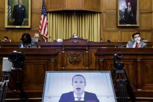 NEW YORK TIMES                                 Facebook CEO Mark Zuckerberg testifies via videoconference before a hearing of the House Judiciary Subcommittee on antitrust, in Washington, on Wednesday.