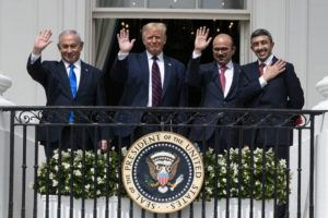 ASSOCIATED PRESS                                 Israeli Prime Minister Benjamin Netanyahu, left, President Donald Trump, Bahrain Foreign Minister Khalid bin Ahmed Al Khalifa and United Arab Emirates Foreign Minister Abdullah bin Zayed al-Nahyan reacted on the Blue Room Balcony after signing the Abraham Accords during a ceremony on the South Lawn of the White House, today, in Washington.