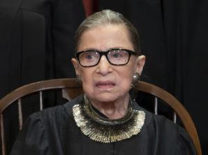 ASSOCIATED PRESS / NOV. 2018                                 Associate Justice Ruth Bader Ginsburg, nominated by President Bill Clinton, sat with fellow Supreme Court justices for a group portrait at the Supreme Court Building in Washington. Mayor Kirk Caldwell announced today he has ordered Honolulu Hale to be lit in white from Wednesday to Friday in honor of Supreme Court Justice Ruth Bader Ginsburg.
