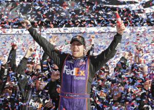 ASSOCIATED PRESS / FEBRUARY 2016                                 Denny Hamlin celebrates in Victory Lane after winning the NASCAR Daytona 500 Sprint Cup Series auto race at Daytona International Speedway in Daytona Beach, Fla.