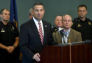 """ABBY DREY/CENTRE DAILY TIMES VIA ASSOCIATED PRESS                                 U.S. Attorney David Freed spoke, in Oct. 2018, at a news conference at the Centre County Courthouse Annex in Bellefonte, Pa. Freed's office issued a statement, Thursday, that nine mailed-in military ballots had been """"discarded"""" by the local election office."""