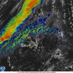 COURTESY NOAA                                 This color-enhanced satellite image shows a weather system west of the islands that is expected to bring rain to Kauai and Oahu this weekend.