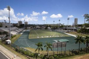 CINDY ELLEN RUSSELL / 2020                                 An overview of the Clarence T.C. Ching Athletics Complex at the University of Hawaii at Manoa.