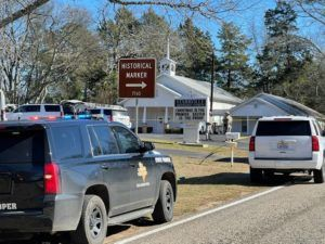ASSOCIATED PRESS The Smith County Sheriff's Office investigates a fatal shooting incident at the Starville Methodist Church in Winona, Texas, this morning. A suspect who fled has been arrested, said the sheriff's office.