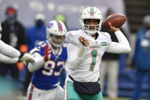 ASSOCIATED PRESS Miami Dolphins quarterback Tua Tagovailoa passes in the first half against the Buffalo Bills today in Orchard Park, N.Y.