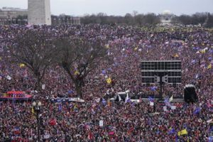 ASSOCIATED PRESS With the Washington Monument in the background, people attended a rally in support of President Donald Trump near the White House, today, in Washington.