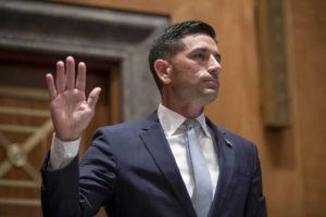 ASSOCIATED PRESS / 2020                                 Acting Secretary of Homeland Security Chad Wolf is sworn in before the Senate Homeland Security and Governmental Affairs committee during his confirmation hearing, on Capitol Hill in Washington.