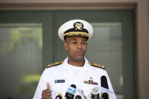 CINDY ELLEN RUSSELL / CRUSSELL@STARADVERTISER.COM                                 U.S. Surgeon General Jerome Adams speaks at a press conference in Honolulu on Aug. 25.