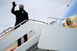 ASSOCIATED PRESS                                 President Joe Biden boards Air Force One for a trip to Milwaukee to participate in a town hall event today at Andrews Air Force Base, Md.