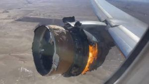 """ASSOCIATED PRESS                                 In this image taken from video, the engine of United Airlines Flight 328 is on fire after after experiencing """"a right-engine failure"""" shortly after takeoff from Denver International Airport, Saturday, Feb. 20, 2021, in Denver, Colo. The Boeing 777 landed safely and none of the passengers or crew onboard were hurt."""