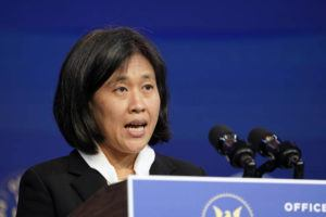 ASSOCIATED PRESS                                 Katherine Tai, the Biden administration's choice to take over as the U.S. trade representative, speaks during an event at The Queen theater in Wilmington, Del., in December.