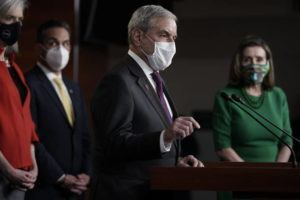 ASSOCIATED PRESS                                 House Budget Committee Chairman John Yarmuth, D-Ky., speaks meets with reporters before the House votes to pass a $1.9 trillion pandemic relief package, during a news conference at the Capitol in Washington.