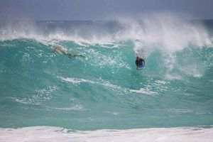 COURTESY ROB TRANTHAM                                 Stabbing victim Parker John Trantham bodyboards at Makapuu on an unknown date.