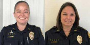 COURTESY HAWAII COUNTY POLICE                                 Capt. Sherry Bird, left, and Capt. Aimee Wana were promoted on Tuesday to the rank of major.