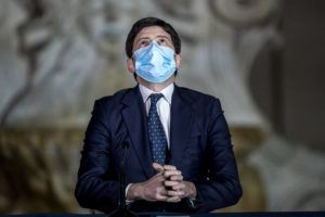 ROBERTO MONALDO/LAPRESSE VIA ASSOCIATED PRESS                                 Italian Health Minister Roberto Speranza met the media to illustrate the government's new measures to curb the spread of COVID-19 in Rome, today. The first anti-pandemic decree from Italy's new premier, Mario Draghi, tightens measures governing school attendance while easing restrictions on museums, theaters and cinemas.