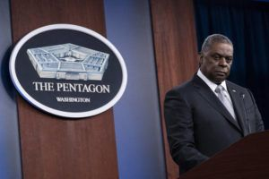 ASSOCIATED PRESS                                 Secretary of Defense Lloyd Austin listens to a question as he speaks during a media briefing at the Pentagon on Feb. 19.