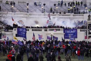 "ASSOCIATED PRESS Rioters stormed the U.S. Capitol, Jan. 6, in Washington. Capitol Police say they have intelligence showing a ""possible plot"" by a militia group to breach the U.S. Capitol on Thursday."