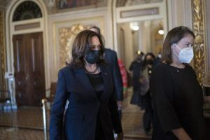 ASSOCIATED PRESS                                 Vice President Kamala Harris arrived to break the tie on a procedural vote as the Senate worked on the Democrats' $1.9 trillion COVID relief package, on Capitol Hill in Washington, today.