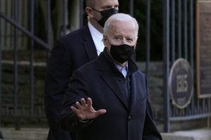 ASSOCIATED PRESS                                 President Joe Biden departs after attending Mass at Holy Trinity Catholic Church in the Georgetown neighborhood of Washington on Saturday.