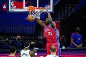 ASSOCIATED PRESS                                 Philadelphia 76ers' Joel Embiid dunk s the ball during the second half of an NBA basketball game against the Utah Jazz on Wednesday in Philadelphia.
