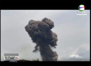 ASSOCIATED PRESS                                 This TVGE image made from video shows smoke rising over the blast site at a military barracks in Bata, Equatorial Guinea. A series of explosions killed at least 20 people and wounded more than 600 others today, authorities said.