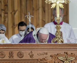 ASSOCIATED PRESS                                 Pope Francis celebrates mass at the Franso Hariri Stadium in Irbil, Kurdistan Region of Iraq, today. The Vatican and the pope have frequently insisted on the need to preserve Iraq's ancient Christian communities and create the security, economic and social conditions for those who have left to return.