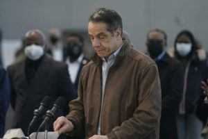 ASSOCIATED PRESS / MARCH 8                                 New York Gov. Andrew Cuomo speaks at a vaccination site in New York. A lawyer for Gov. Andrew Cuomo said Thursday that she reported a groping allegation made against him to local police after the woman involved declined to press charges herself.