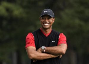 ASSOCIATED PRESS / 2019                                 Tiger Woods smiles during the winner's ceremony after winning the Zozo Championship PGA Tour at the Accordia Golf Narashino country club in Inzai, east of Tokyo, Japan.