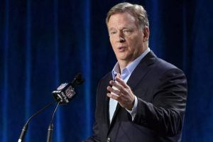 ASSOCIATED PRESS / 2020                                 NFL Commissioner Roger Goodell answers a question during a news conference for the NFL Super Bowl 54 football game in Miami.