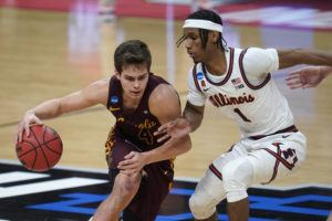 ASSOCIATED PRESS                                 Loyola Chicago guard Braden Norris (4) drives on Illinois guard Trent Frazier (1) during the second half of a men's college basketball game in the second round of the NCAA tournament at Bankers Life Fieldhouse in Indianapolis, today.