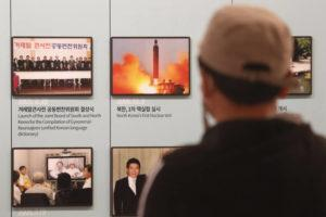 ASSOCIATED PRESS                                 A photo showing North Korea's missile launch is displayed at the Unification Observation Post in Paju, near the border with North Korea, South Korea, Wednesday.